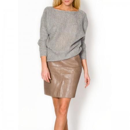 Pilkas megztinis su aukso gijomis
